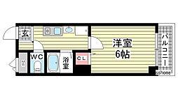 兵庫県神戸市灘区日尾町3丁目の賃貸マンションの間取り