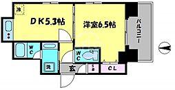 エステムコート大阪新町 5階1DKの間取り