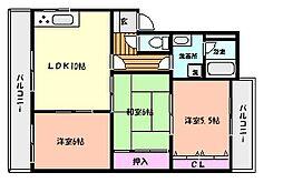 阪急神戸本線 六甲駅 徒歩7分の賃貸マンション 3階3LDKの間取り
