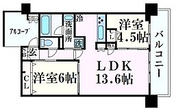 ワコーレザ・神戸トアロード 8階2LDKの間取り