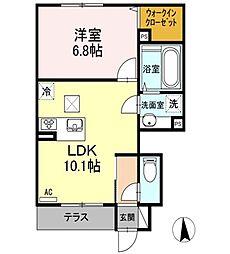 東京都練馬区田柄4丁目の賃貸アパートの間取り