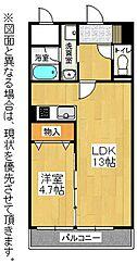 福岡県北九州市戸畑区新池3丁目の賃貸マンションの間取り