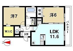 Maison Espair(メゾン エスポワール) 3階2LDKの間取り