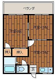 宇喜ハイツ[2階]の間取り