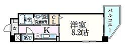 ヌーベルメゾン六甲 4階1Kの間取り