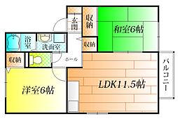 グレープガーデン松井[1階]の間取り
