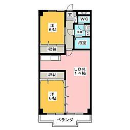 トゥインクルツイン桃山[4階]の間取り