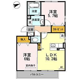 サニーホームズ B棟[2階]の間取り