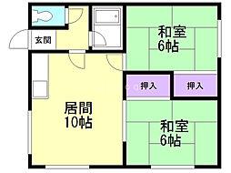 栄マンションC 2階2LDKの間取り