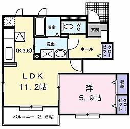東京都東大和市狭山4の賃貸アパートの間取り