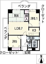 グランベール志賀本通り[4階]の間取り