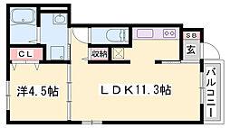 JR播但線 福崎駅 徒歩7分の賃貸アパート 1階1LDKの間取り