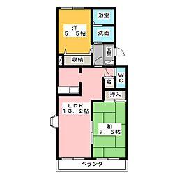 ウィング富士A[1階]の間取り