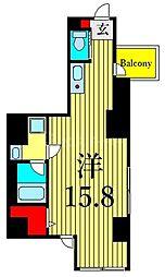 JR山手線 上野駅 徒歩8分の賃貸マンション 2階ワンルームの間取り