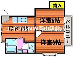 岡山県岡山市南区福富西1の賃貸アパートの間取り