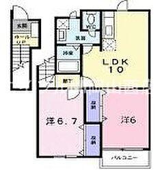 岡山県岡山市南区米倉の賃貸アパートの間取り