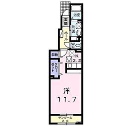メゾンドトービル 1階1Kの間取り