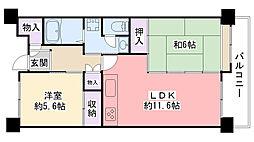 武庫川あおぞらのまち25号棟[604号室]の間取り