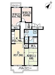 URパークシティ鴻巣駅前プラザ 5階3DKの間取り
