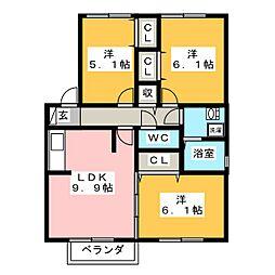 セラリッシュ A棟[2階]の間取り