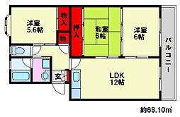 福岡県福岡市南区中尾2丁目の賃貸マンションの間取り
