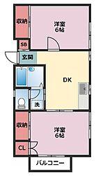 神奈川県横浜市鶴見区下末吉6丁目の賃貸アパートの間取り