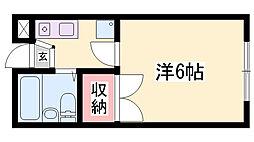 JR東海道・山陽本線 姫路駅 バス30分 六角停下車 徒歩1分の賃貸アパート 2階1Kの間取り