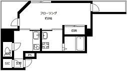 京王線 初台駅 徒歩2分の賃貸マンション 2階1Kの間取り