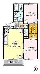 静岡県三島市加茂川町の賃貸アパートの間取り