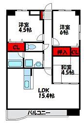福岡県福津市福間駅東2丁目の賃貸マンションの間取り