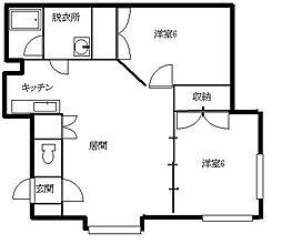 北海道札幌市南区川沿一条2丁目の賃貸アパートの間取り