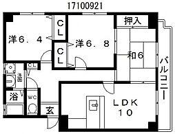 大阪府大阪市東住吉区山坂1丁目の賃貸マンションの間取り