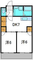 Osaka Metro谷町線 大日駅 徒歩13分の賃貸マンション 3階2DKの間取り