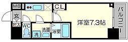 プランドール新大阪PARKレジデンス 7階1Kの間取り