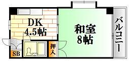 木村ビル 2階1DKの間取り