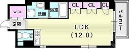 Xing CUBE ONE 3階ワンルームの間取り