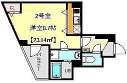 JR総武本線 千葉駅 徒歩10分の賃貸マンション 6階ワンルームの間取り