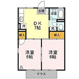 静岡県浜松市中区中島4丁目の賃貸アパートの間取り