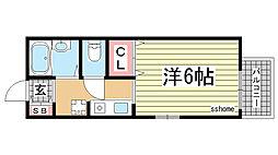 兵庫県神戸市灘区友田町2丁目の賃貸アパートの間取り