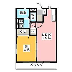 ウエストコート21[2階]の間取り