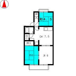 サンハイツIIA棟[1階]の間取り