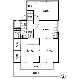 兵庫県姫路市北八代1丁目の賃貸アパートの間取り