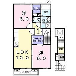 アクティ北鴨III(アパート) 2階2LDKの間取り