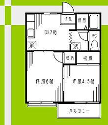 神奈川県横浜市磯子区杉田2の賃貸アパートの間取り