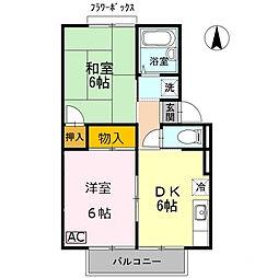 サニーハイツフミ B棟[2階]の間取り