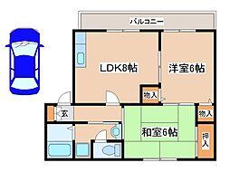 兵庫県神戸市西区南別府1丁目の賃貸アパートの間取り