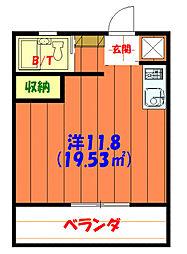 バス 泡瀬二区下車 徒歩2分の賃貸アパート 3階ワンルームの間取り