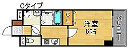セントラルヒルズ橘 4階1Kの間取り