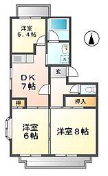 愛知県清須市西枇杷島町城並3丁目の賃貸マンションの間取り