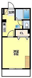 名鉄三河線 猿投駅 5.2kmの賃貸アパート 2階1Kの間取り
